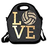 HFJDKS Volleyball Bling Love Insulated Thermal Lunch Bag Waterproof Outdoor Travel Picnic Carry Case Lunch Handbags Tote