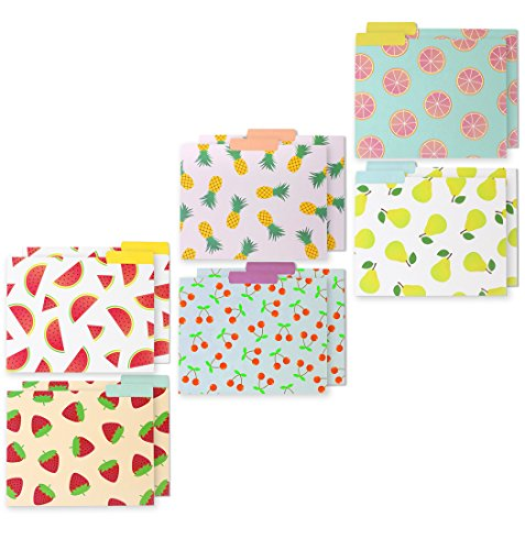 Decorative Assorted Designer File Folder Set - 6 Different Fruit Designs - Letter Size with ½ Inch Cut Top Memory Tab - File Filing Organizers - 9.5 x 11.5 Inches - 12 Pack