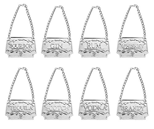 Liquor Decanter Tags(8pcs), Deluxe Set of Liquor Tags for Bottles or Decanters, Set of Eight With Adjustable Chain,Whiskey, Bourbon, Scotch, Gin, Rum, Vodka, Tequila and Brandy (Silver)