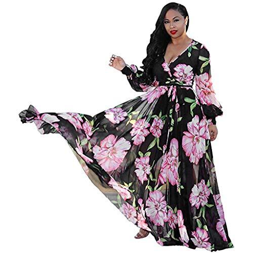 Long Casual Dresses Womens Stylish Chiffon V-Neck Printed Floral Maxi Dress with Waisted Belt Plus Size Chaofanjiancai Black