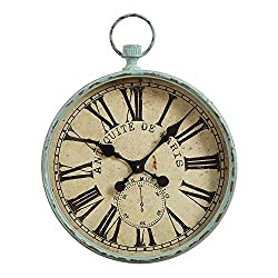 Large Iron Antique Paris Pocket Watch Look Wall Clock Distressed Aqua Finish Country Home D