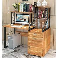 Everest Large Multi-Function Computer Desk Workstation with Shelves & Cabinet (Oak)