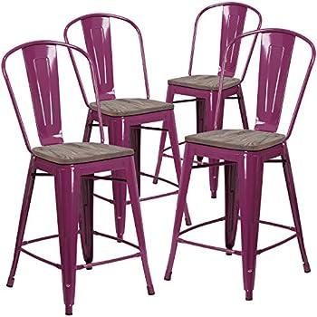 Amazon Com Flash Furniture 4 Pk 24 Quot High Purple Metal