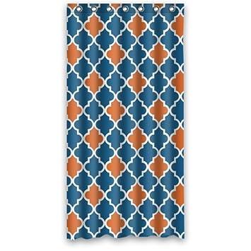 Marocain De Salle De Bain Orange Et Bleu Marine Rideau De Douche 48
