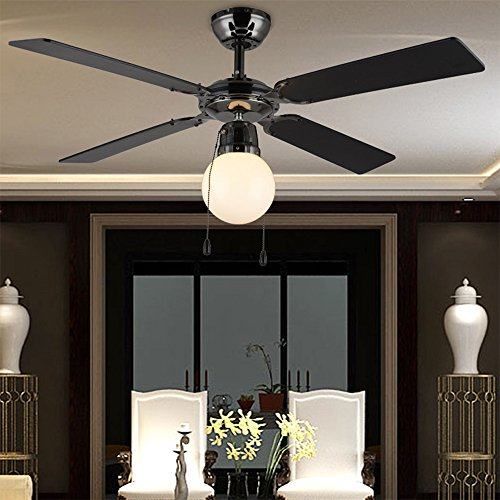 RainierLight Retro and Rustic LED Light Fixtures Ceiling Fan with Four Wood Leaves and for Bedroom/Living Room/Restaurant 42-Inch(Black)