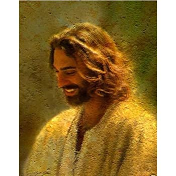 Amazon Com Real Hand Painted Golden Jesus Christ Canvas Oil