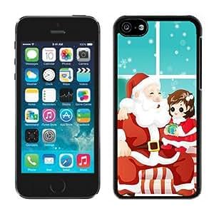 Iphone 5C Case,Christmas Santa Claus With Kids Iphone 5C Black Plastic Case,Apple 5C Cover Case