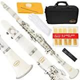 Lazarro 150-WH-L B-Flat Bb Clarinet White-Silver Keys with Case, 11 Reeds, Care Kit and Many Extras