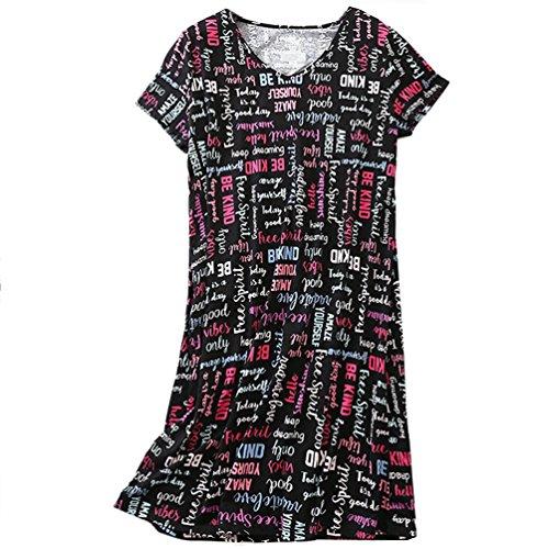 (ENJOYNIGHT Womens Cotton Sleepwear Short Sleeves Print Sleepshirt Sleep Tee (Letter,)