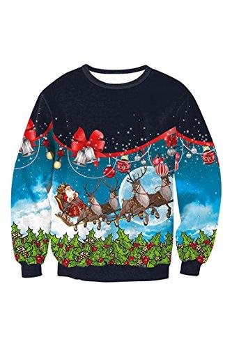 PinkWind Women's Girls Christmas Reindeer Printed Ugly Xmas Sweatshirt Pullover Sweater XL for $<!--$19.99-->