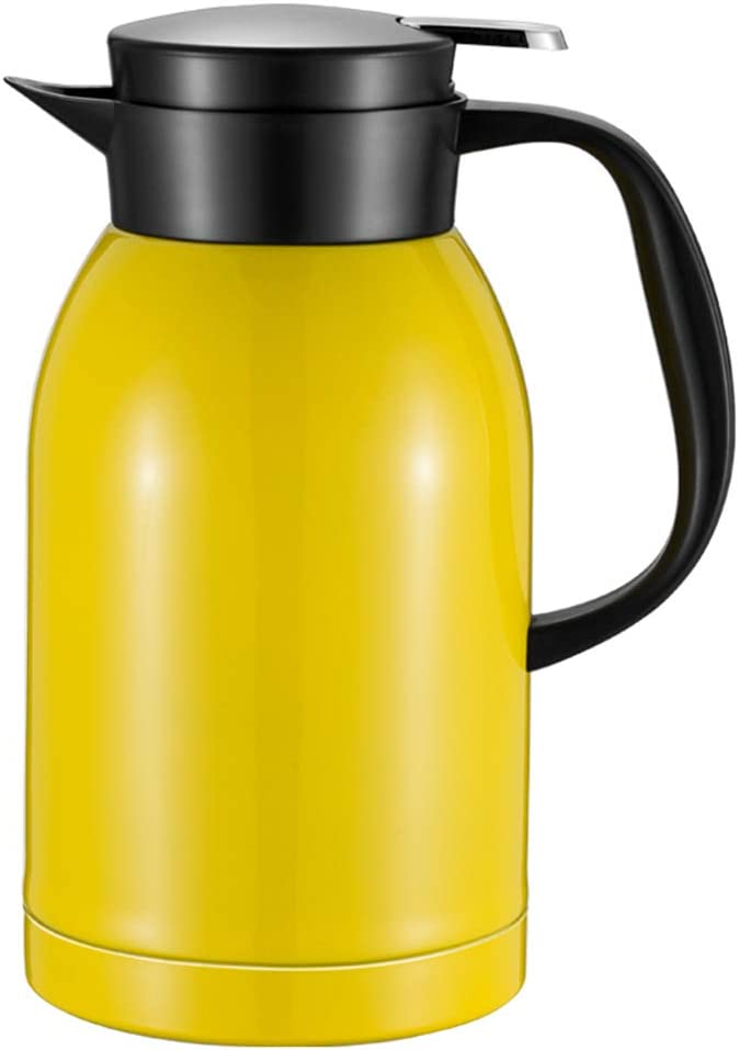 FYJK Insulated Jug Thermal Carafe Stainless Steel Double Wall Insulation Pot for Coffee Juice Milk Tea Beverages Silver 2.5L,Yellow