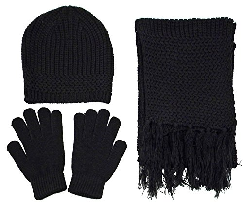 Women Men's Knit Ski Beanie, Scarf, & Gloves Set Winter - Bl