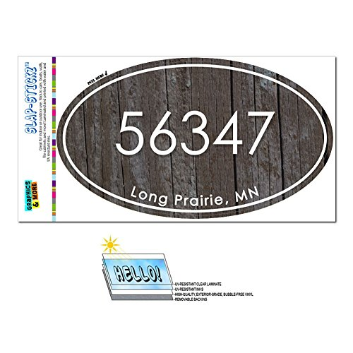 Graphics and More Zip Code 56347 Long Prairie, MN Euro Oval Window Bumper Glossy Laminated Sticker - Wood Design