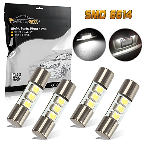 Partsam 4pcs White 23mm Festoon LED Bulbs for Car Truck Interior Sun Visor Vanity Mirror Lights Lamps for Nissan/Infiniti etc.