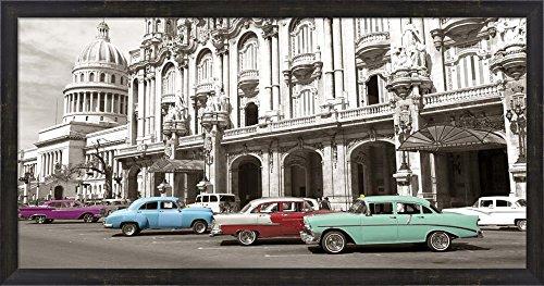 Vintage American Cars in Havana, Cuba Framed Art Print Wall Picture, Espresso Brown Frame, 38 x 20 - Pictures Havana Brown