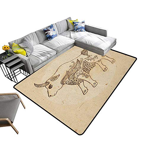 "Zodiac Taurus Decorative Floor mat Hand Drawn Bull with Ethnic Ornaments Vintage Antique Tribal Design 70""x110"",Can be Used for Floor Decoration"