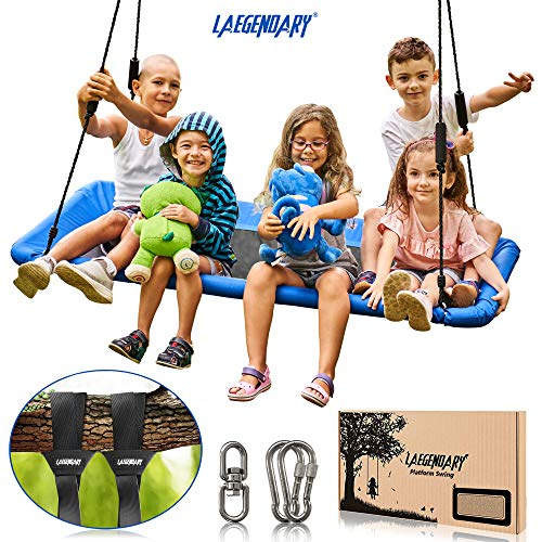 60 Inch Platform Tree Swing for Kids and Adults - Giant Flying Outdoor Indoor Saucer Hammock - Surf Tire Swingset Accessories Toys - 2 Tree Straps, 2 Carabiners, 1 Swivel - 350 Pounds Yard Swings Set
