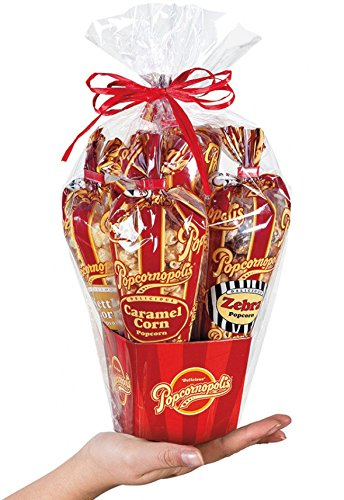 Popcornopolis Mini 5-cone Variety Popcorn Gift Basket, Gluten Free (Christmas Gift Baskets Non Food)