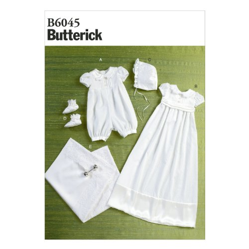 BUTTERICK PATTERNS B6045 Infants' Romper, Dress, Sash, Hat, Booties and Blanket Sewing Template, Size YA5 ()