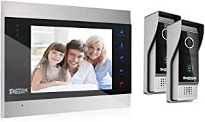 TMEZON Video Door Phone Doorbell Intercom System,Door Entry System with 7 Inch 1-Monitor 2-Camera,Touch Button, Night Vision,Support Automatically Snapshot/Recording