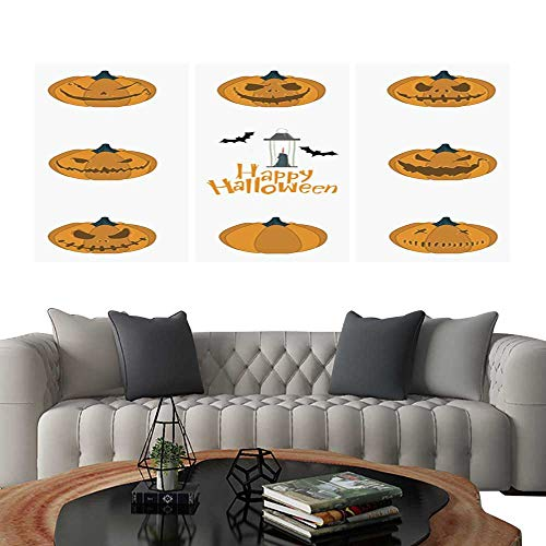 UHOO Canvas Print Wall Art Halloween Pumpkin Carving Set Happy Halloween Typography Vector. Art Stickers 12
