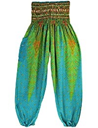 Thai Style Pants Lake Green Summer Beach Bohemian High Waist Harem Loose Women Trousers