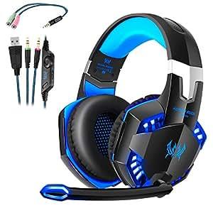 Auriculares Cascos Gaming de Mac Estéreo con Micrófono Juego Gaming Headset con 3.5mm Jack Luz LED Bajo Ruido Compatible con PC Xbox One, PS4 ,Móvil
