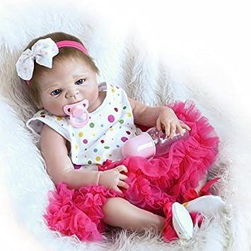 ViKiDoll Reborn Baby Doll Full Silicone Body 23inch 57cm Babies Doll  Lifelike Little Girl Doll Women Nursing Treats Shooting Props c7050fed48