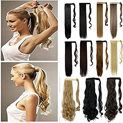 S-noilite Newest Pop Long Straight Curly Wavy Wrap Around on Ponytail Clip in Pony Tail Hair Extensions Natural Synthetic Hairpiece ...