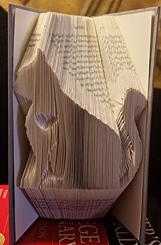 Custom hand made book fold sculpture. Sitting cat with heart. Kitty Love. Perfect unique gift for any - Cat Kitty Sitting