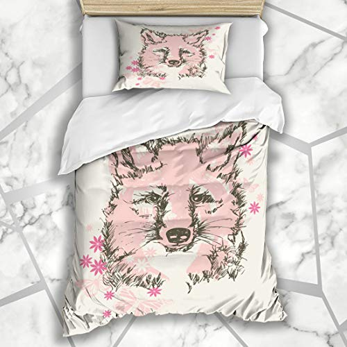 (Ahawoso Duvet Cover Sets Twin 68X86 Silkscreen Pink Graphic Pretty Baby Fox Floral School Wildlife Kids Insect Screen Forest Design Happy Microfiber Bedding with 1 Pillow Shams)