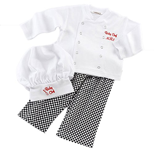 stylesilove Baby Unisex Cook Chef Costume, Pants and Hat 3-pc (90/12-18 -