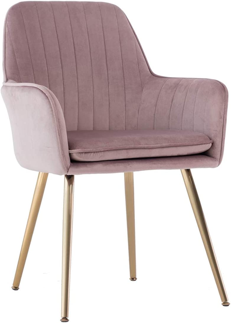 GOLDEN BEACH Elegant Velvet Dinning Chair Mid-Back Support Accent Arm Chair Modern Leisure Upholstered Chair with Gold Plating Legs Pink Mauve