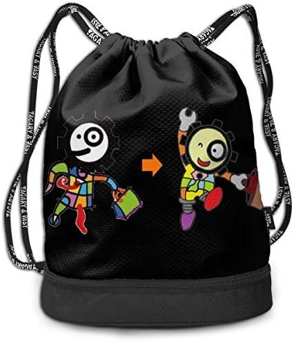 メンズ レディース 兼用キャラクター (2) ナップサック アウトドア ジムサック 防水仕様 バッグ 巾着袋 スポーツ 収納バッグ 軽量 バッグ 登山 自転車 通学・通勤・運動 ・旅行に最適 アウトドア 収納バッグ