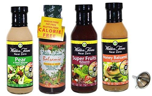 Walden Farms Balsamic Vinaigrette,Fruit Balsamic,Honey Balsamic,Pear/White Balsamic Salad Dressing 4 (Pear Salad)