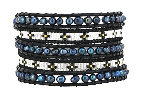 [Womens Long Seed Bead Dyed Freshwater Cultured Pearl Wrap Around Leather Bracelet (Black & White)] (Indian Beaded Bracelet)