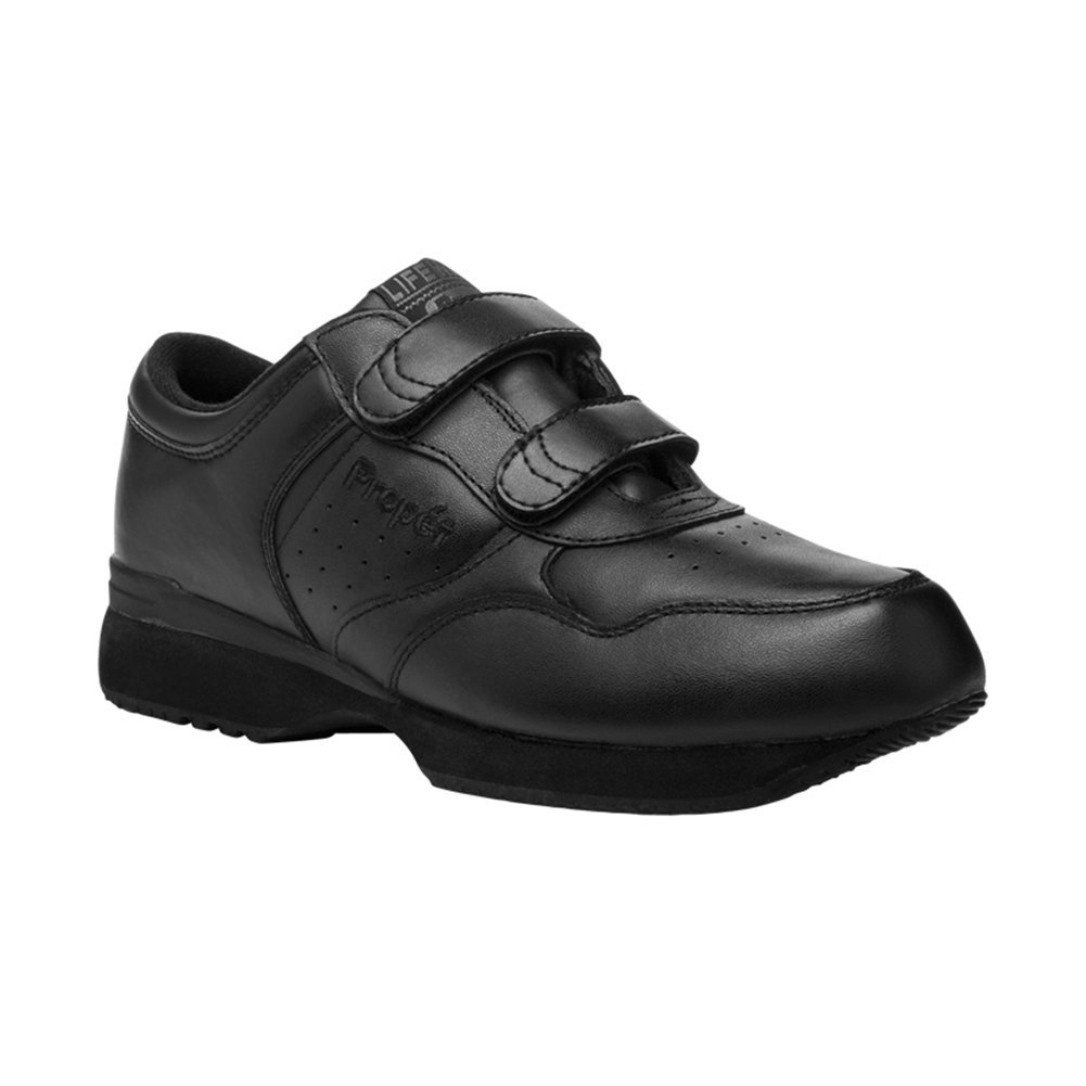 Propet Men's Life Walker Strap Sneaker,Black,12 M (US Men's 12 D)