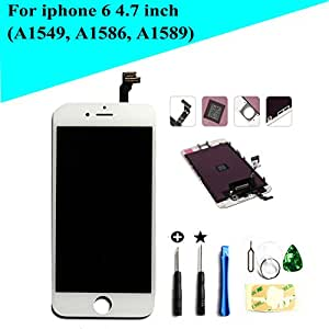 """Global Repair iphone 6 4.7"""" (A1549, A1586, A1589 ) LCD screen replacement Digitizer Frame Assembly in white"""