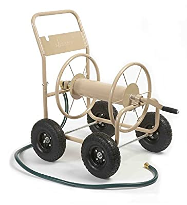 Liberty Garden Products 870-M1-2 Industrial 4-Wheel Garden Hose Reel Cart, Holds 300-Feet of 5/8-Inch Hose - Tan