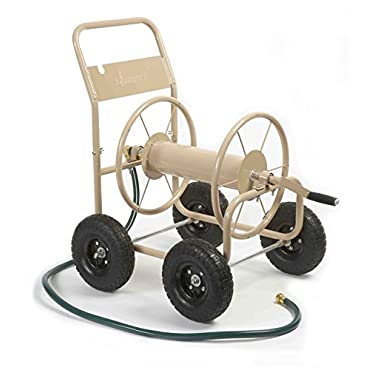 Liberty Garden Products 870-M1-2 Industrial 4-Wheel Garden Hose Reel Cart, Holds 300' of 5/8 Hose Tan