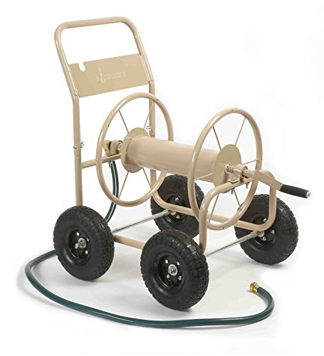 Liberty Garden 870M12 Industrial 4Wheel Garden Hose Reel Cart Holds 300Feet of 5/8Inch Hose  Tan