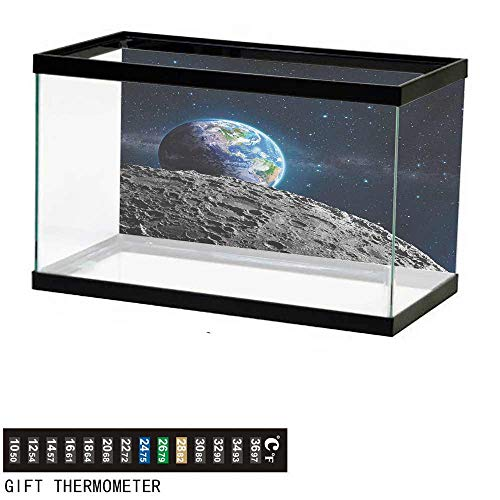 (wwwhsl Aquarium Background,Galaxy,View of Earth from Moon Surface Lunar Satellite Spacewatch Tracking Project,Grey Dark Blue Fish Tank Backdrop 48