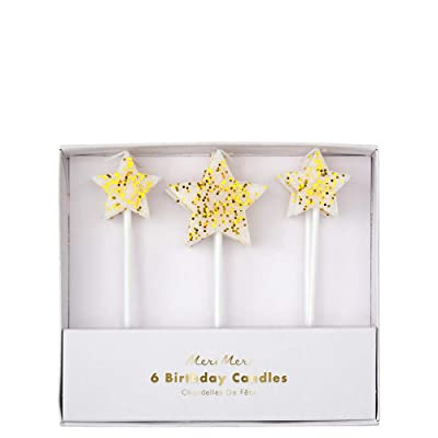 Meri Meri Gold Glitter Star Candles - Pack of 6 - Multi-size Star Candles: Toys & Games