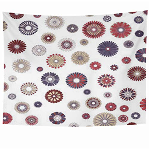 (GisRuRu Tapestry Wall Hanging 80 x 60 Inches Flower Red Blue Beige Gradient Spot Abstract Cute Aster Mid Century Modern Pattern Geometric Mod Tapestries Home Decor Art for Bedroom Living Room Dorm)