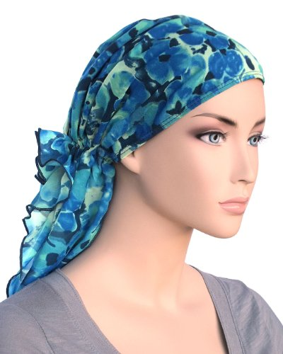 Bohemian Scarf in Blue Water Floral Chiffon