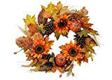 """Admired By Nature GFW6006-NATURAL Artificial Sunflowers/Pumpkins/Pine Cone/Maple Leaves/Wheat Festive Harvest Display Wreath, 24"""", Autumn"""