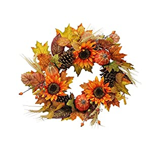 """Admired By Nature GFW6006-NATURAL Artificial Sunflowers/Pumpkins/Pine Cone/Maple Leaves/Wheat Festive Harvest Display Wreath, 24"""", Autumn 51"""