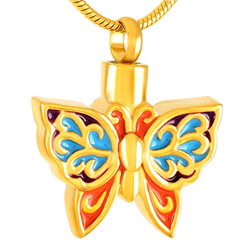 constantlife Colorful Butterfly Necklace Ash Holder Urn Pendant Necklace Stainless Steel Cremation Jewelry (Gold)