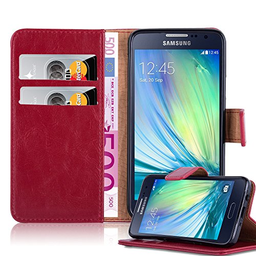 Book Style Wallet Design Case for Samsung Galaxy A3 (A300 - Model 2015) with 2 Card Slots and Stand Function - Etui Case Cover Protection Pouch in WINE-RED (A300 Cases)