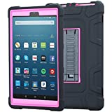 TabPow All-New Fire HD 8 Tablet, Shockproof, Drop Protection, Three-Layer Full-Body Hybrid Kids Adult Case With Kickstand For Fire HD 8 Tablet (7th Gen, 2017) & Fire HD 8 (6th Gen, 2016) -Pink